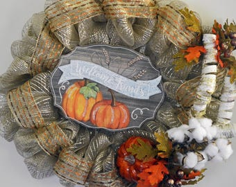 Farmhouse Country  Fall Deco Mesh Welcome Wreath