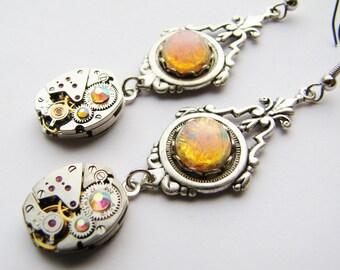 Victorian Industrial Fire Opal & Vintage Watch Movement Earrings, Steampunk Earrings, Fire Opal Earrings, Watch Earrings, ERG90