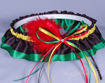 Rasta Wedding Garter in Satin with Swarovski Crystal and Marabou Feathers