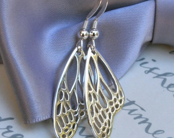 Monarch Butterfly Wing earrings Sterling Silver detailed