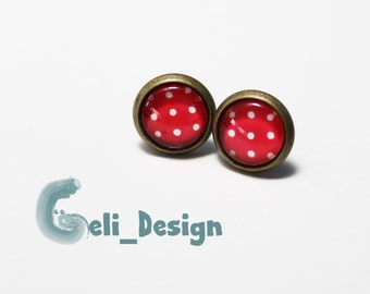Cabochon earrings dots red white maritim