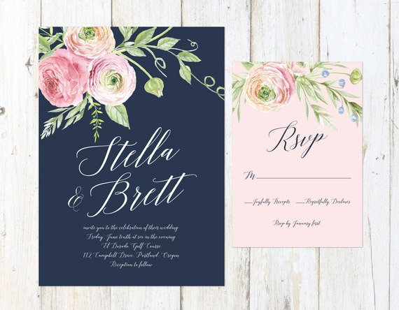 Navy Blush and Cream Wedding Invitation Floral Wedding
