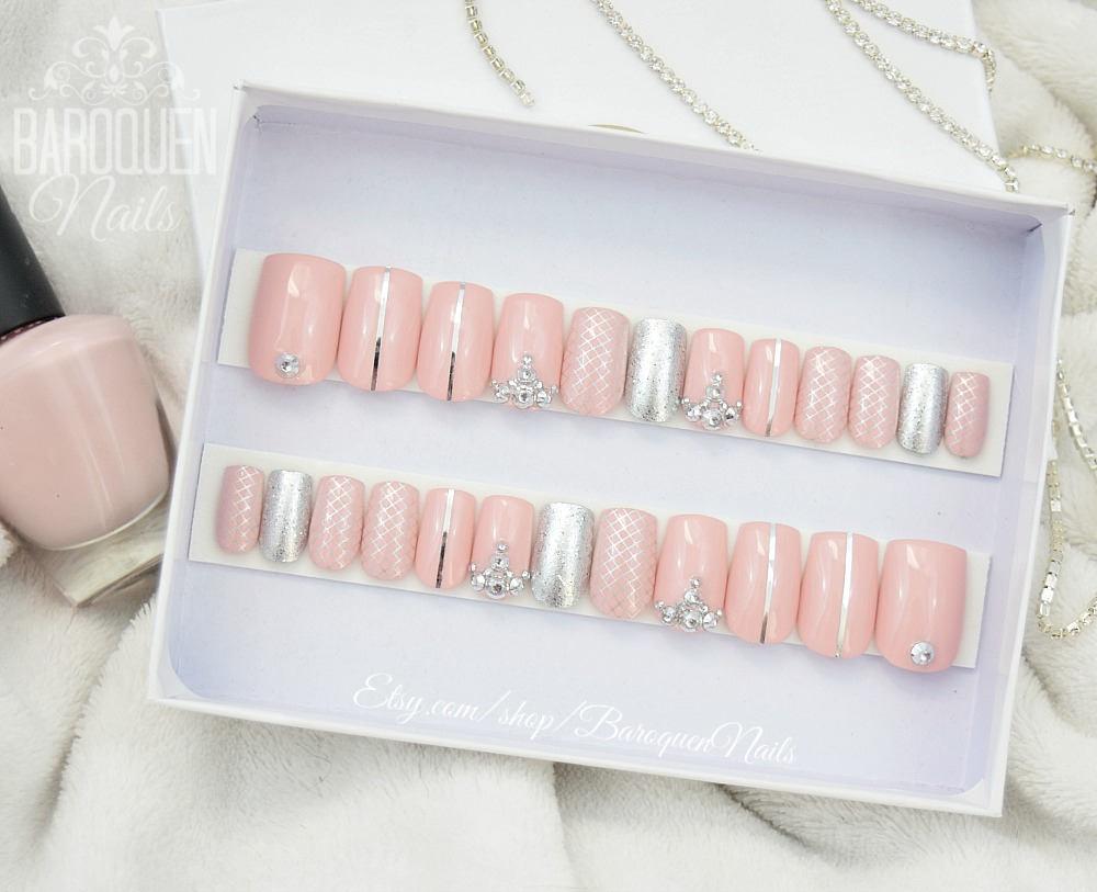 Millennial Pink & Rose Gold Press On Nails | Glitter Quilt Nail Art ...