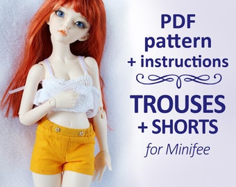 """PATTERN of Pants trousers shorts for MSD Minifee, Ellowyne, Tonner and Similar dolls 16"""""""