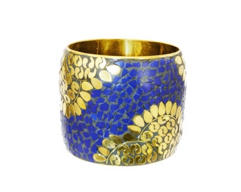 Tribal Bracelet,Gold Cuff ,Wide Lapis Lazuli Bangle cuff,Mosaic STATEMENT Cuff  Afghan ethnic jewelry,bedouin Gypsy,Bohemian,Boho Jewelry