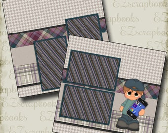 CELL PHONE Boy - 2 Premade Scrapbook Pages - EZ Layout 133