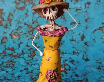 Day of the Dead matchbox shrine figure La Catrina with May flowers figure