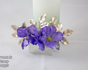 Two Tone/Pearlescent Purple Flower and Gold Leaf Bridal Hair Comb