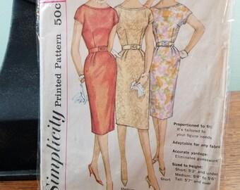 Vintage Simplicity 3461 Ladies one piece dress  Junior and Misses size  16 -  1950's