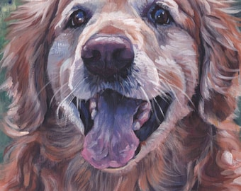 "Golden Retriever portrait CANVAS PRINT of LAShepard painting 12x12"" dog art"