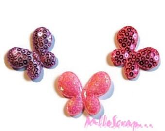 Set of 3 butterflies fabric sequins embellishment scrapbooking (ref.310). *.