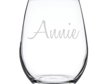 Personalized Stemless White Wine Glass-17 oz.-7882 Name in Script