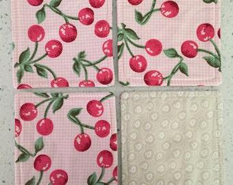 Drink Coasters - Set of 4 - Cherries on Pink