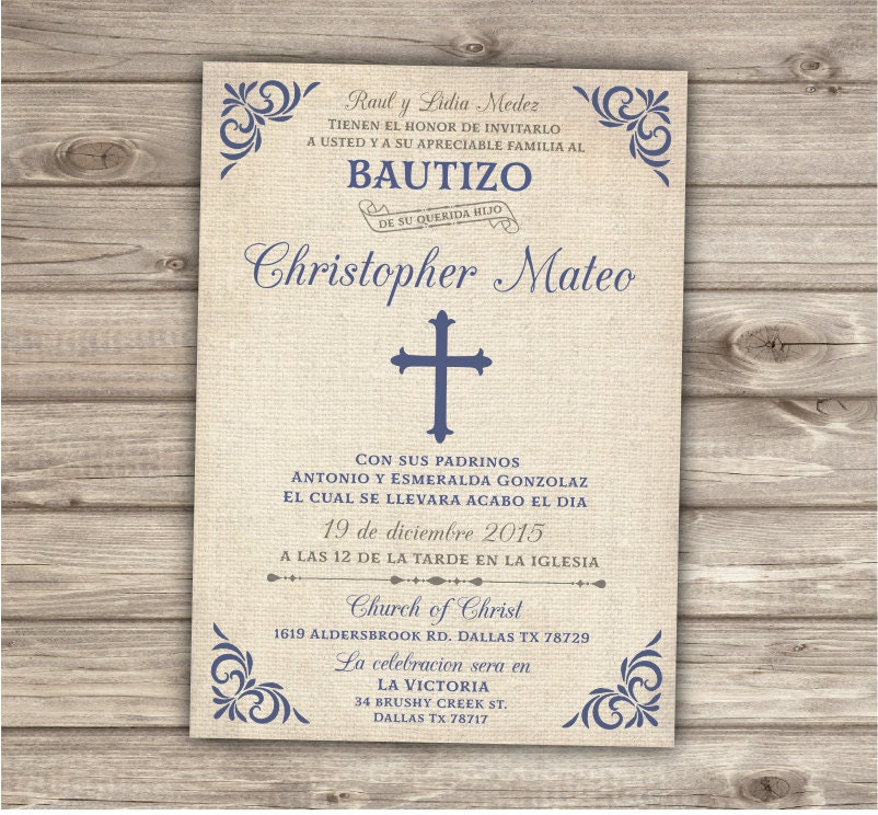 RESERVED 25 Spanish Printable Baptism Invitations Burlap
