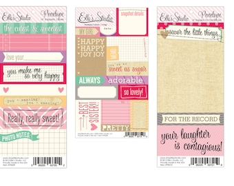 Elle's Studio - Penelope Cutouts, Lil Snippets Labels & For the Record (Includes 3 sheets)  -- MSRP 3.00