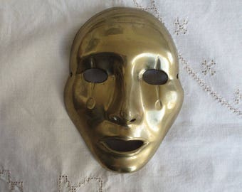 Vintage Brass Mask - Theatre Carnival Clown Pierrot Mime Face - Wall Hanging Decor