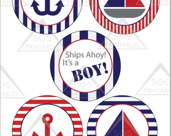 Blue and Red Nautical Sailboat Baby Shower Party Circles, Nautical Printables, Nautical Shower Decorations, Printable PDF, Instant Download