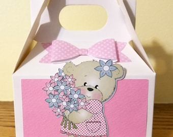 Baby Shower Gable Box, Baby Shower Treat Boxes, Shower Favor, Baby Shower Favor Boxes, Bear Baby Shower Favors, Girl Baby Shower Gift Boxes