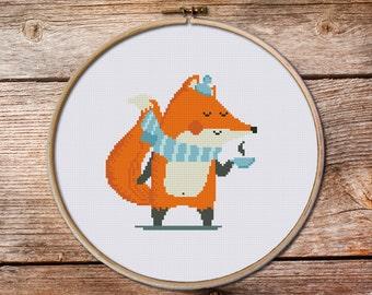 Fox Cross Stitch pattern, Little Fox, tea time stitch pattern, time to coffe stitch pattern, baby cross stitch pattern, Cross Stitch Pattern