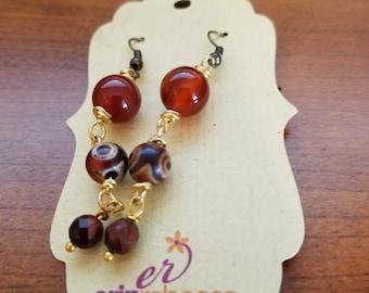 Carnelian Wire Wrapped Drop Earrings