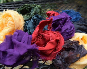Bulk Fiber Strips, Fabric Pieces, Hand Dyed Cotton Ribbon Ends, DYI, Jewelry Crafts, Weaving.  Destash
