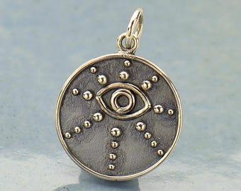 Sterling Silver, Evil Eye Pendant, Silver Granulation, Silver Evil Eye, Evil Eye Jewelry, Evil Eye Charm, Talisman Pendant, Talisman Charm