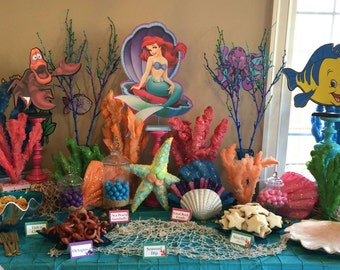 Disney Little Mermaid Set of 3 with Ariel, Sebastian, and Flounder Centerpieces  (Double-Sided)