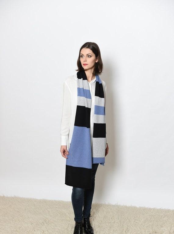Cashmere infinity scarf, knit scarf merino, knitted cashmere scarf, cashmere scarf, knitted scarf striped, black wool scarf