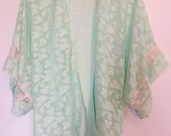 Green and pink lace kimono /beach kimono / light overlay / beachwear