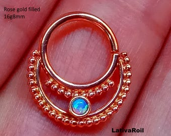 Septum ring,Daith ring,Nose ring,Piercing jewelry,20g,18g,16g,14g,Silver,Gold filled,Solid Gold,Gem stone 2 mm