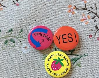 Set of Three 1980's Retro Pins