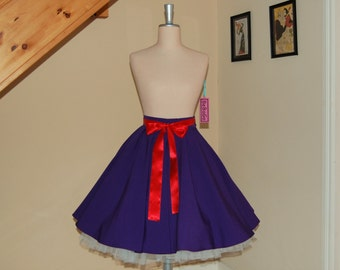 full circle skirt ,Swing skirt , Holiday Rockabilly skirt,purple skirt