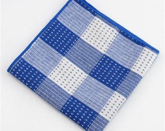 Blue Plaid Pocket Square | red gingham handkerchief | mens handkerchief | pocket square for wedding | mens pocket squares | red wedding