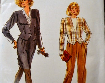 Vintage 1980's Sewing Pattern Vogue 7286 Misses' Jacket, Skirt, and Pants  Bust 29-32 Inches UNCUT Complete