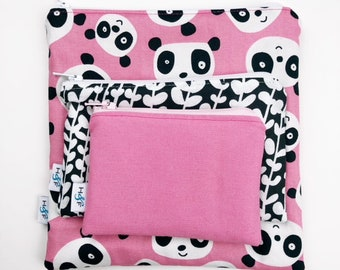 Reusable snack bag sets baggies eco friendly lunch bags toy bags storage pink panda bear bamboo black white girl