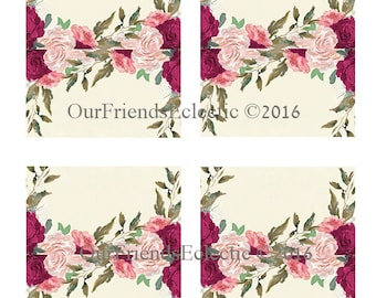 burgundy floral place cards, blank place cards, ivory name cards, printable place cards, blank YOU add text using GRAPHICS PROGRAM,you print