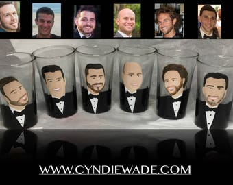 Shot Glass Caricature Custom Painted Portrait Shot Glass