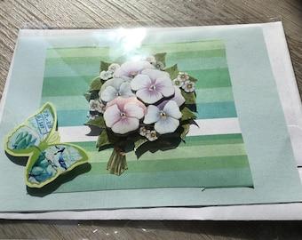 """Card 3D """"bouquet of violets."""