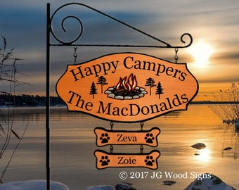 Family Name Sign Etsy Camper Name Sign Colored Campfire with pine trees with 2 addons Camping Sign w RV Sign Holder JGWoodSigns MacDonald