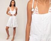 White Overall Shorts Cotton Shortalls 90s Grunge Shortalls Bib Overalls Woman Vintage Normcore Retro Suspender Large