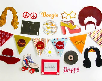 70s Party Decorations, 70s Photo Booth Props, 70s Banner Printable | INSTANT DOWNLOAD