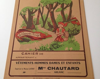 French vintage exercice book cover from the middle of 20 century in paper.