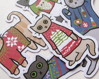 Cute Christmas, Cat Stickers, Playful Kitties, Journaling, Sticker Flakes, Stationery, Scrapbooking, Paper Stickers, Ugly Sweater