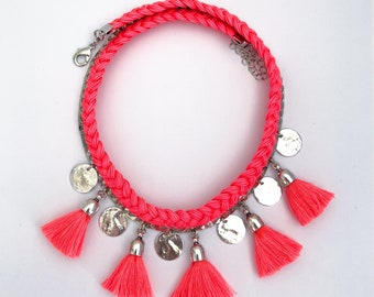 Necklace DROWNED neon coral tassel