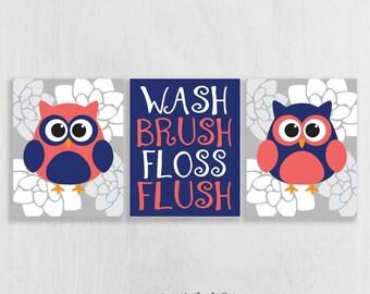 Owl Bathroom Art Prints Set Of 3   Owl Bathroom Decor   Kids Bathroom Art