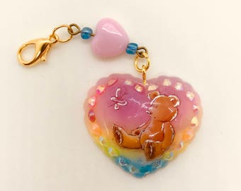 Rainbow Teddy Bear Heart Charm