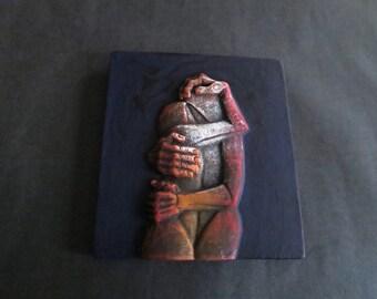 Vintage Handpainted Clay Bas Relief Decor Tile Tiitled Las Unidad