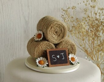 Rustic Wedding Cake Topper - Hay Bale Cake Topper with Daisies - Barn Wedding Cake Topper - Farm Wedding Cake Topper - Summer Wedding