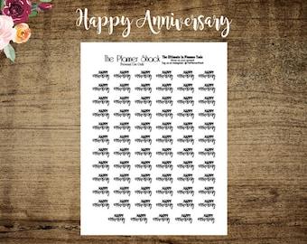 Happy Anniversary | Printable Planner Stickers | Planner Printables | Script | Anniversary | Typography | Typography Prinables | Printables