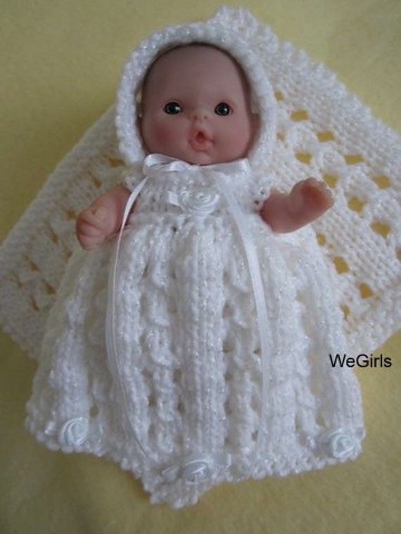 Berenguer Baby Doll Knitting Pattern Lace Christening Gown Set